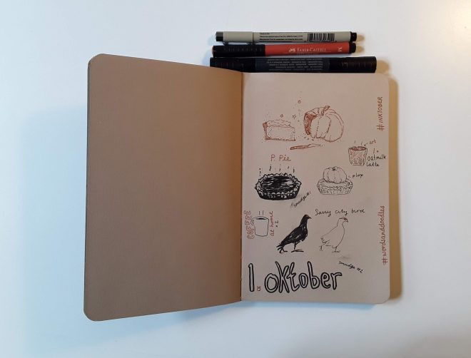 inktober 2019 wordsanddoodles doodle drawing pumpkin pie coffee bird