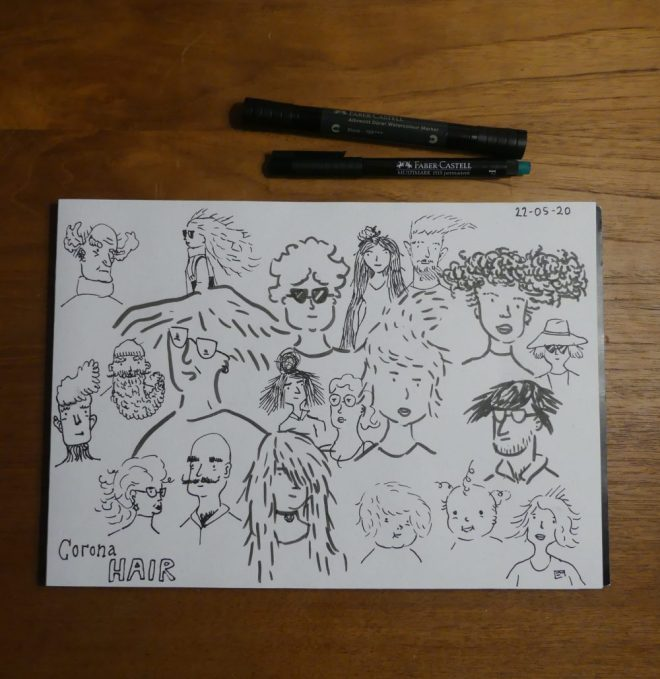 doodle drawing of random people with corona hair - different hairstyles.