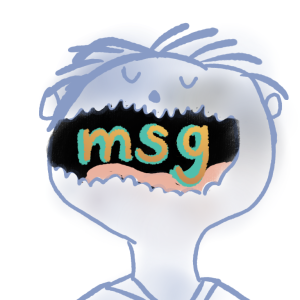 Doodle style drawing of the letters MSG inside the mouth of a person.